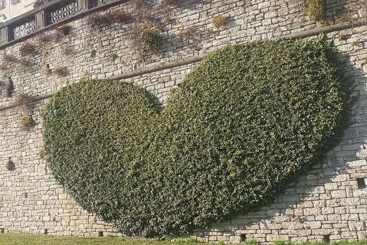 Cuore sulle mura di Bergamo