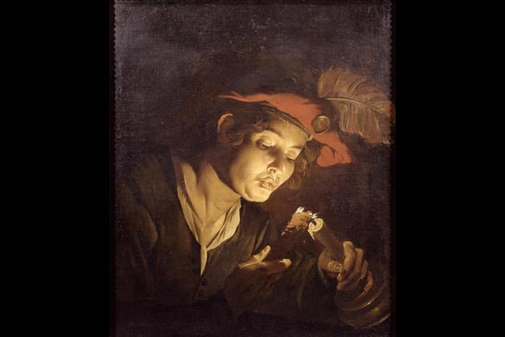 Giovane che accende una candela di Matthias Stomer