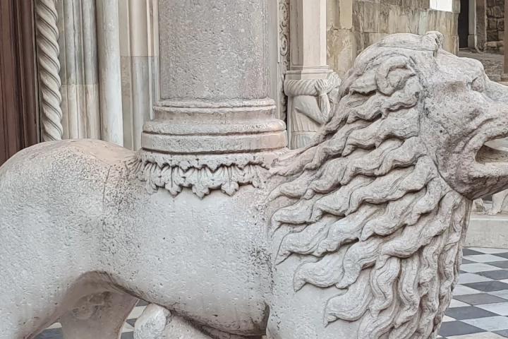 Leoni bianchi della basilica di Santa Maria Maggiore a Bergamo alta